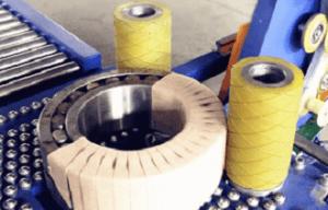 bearing wrapping machine for packing large bearings