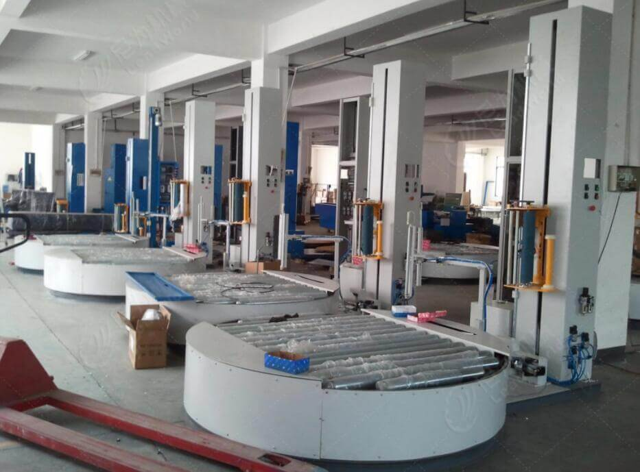 conveyorized pallet stretch wrapping machine