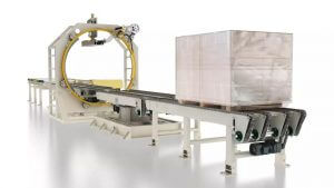orbital stretch wrapper for packing gypsum boards