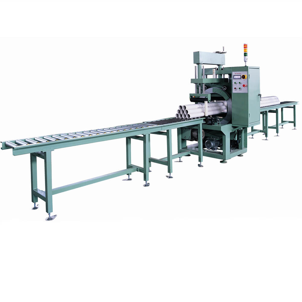 Automatic horizontal orbital stretch wrapping line for packing plastic tube and pipe bundles