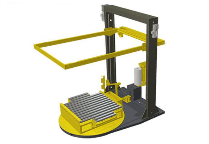 online pallet stretch wrapping machine with top film dispenser