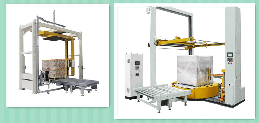 Online pallet and skid stretch wrap machine