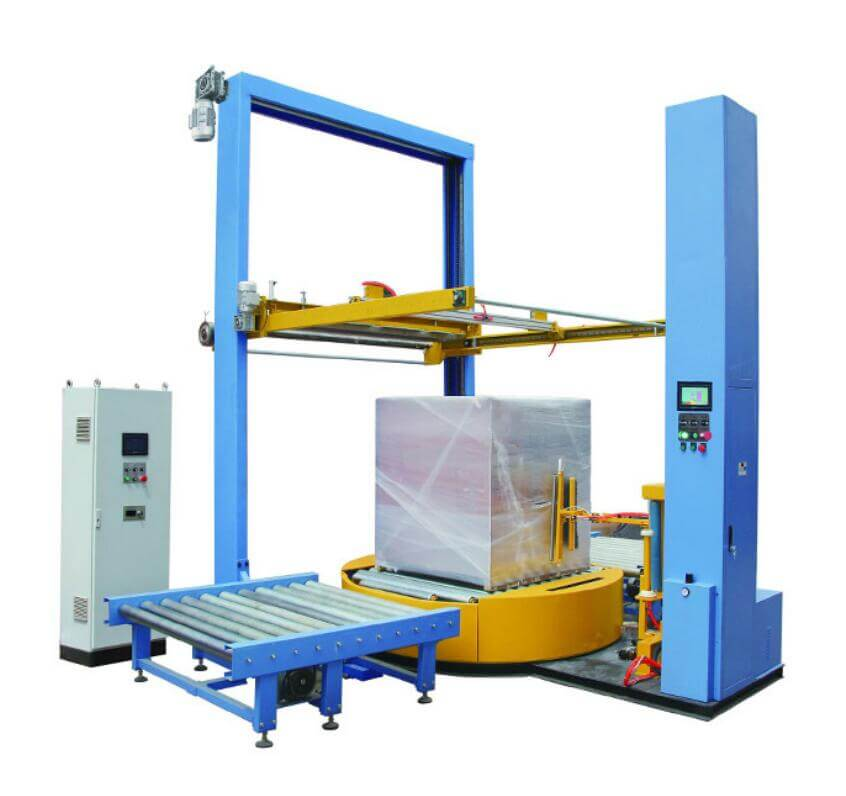 Customized online pallet stretch wrapping line for Euro standard pallet packaging