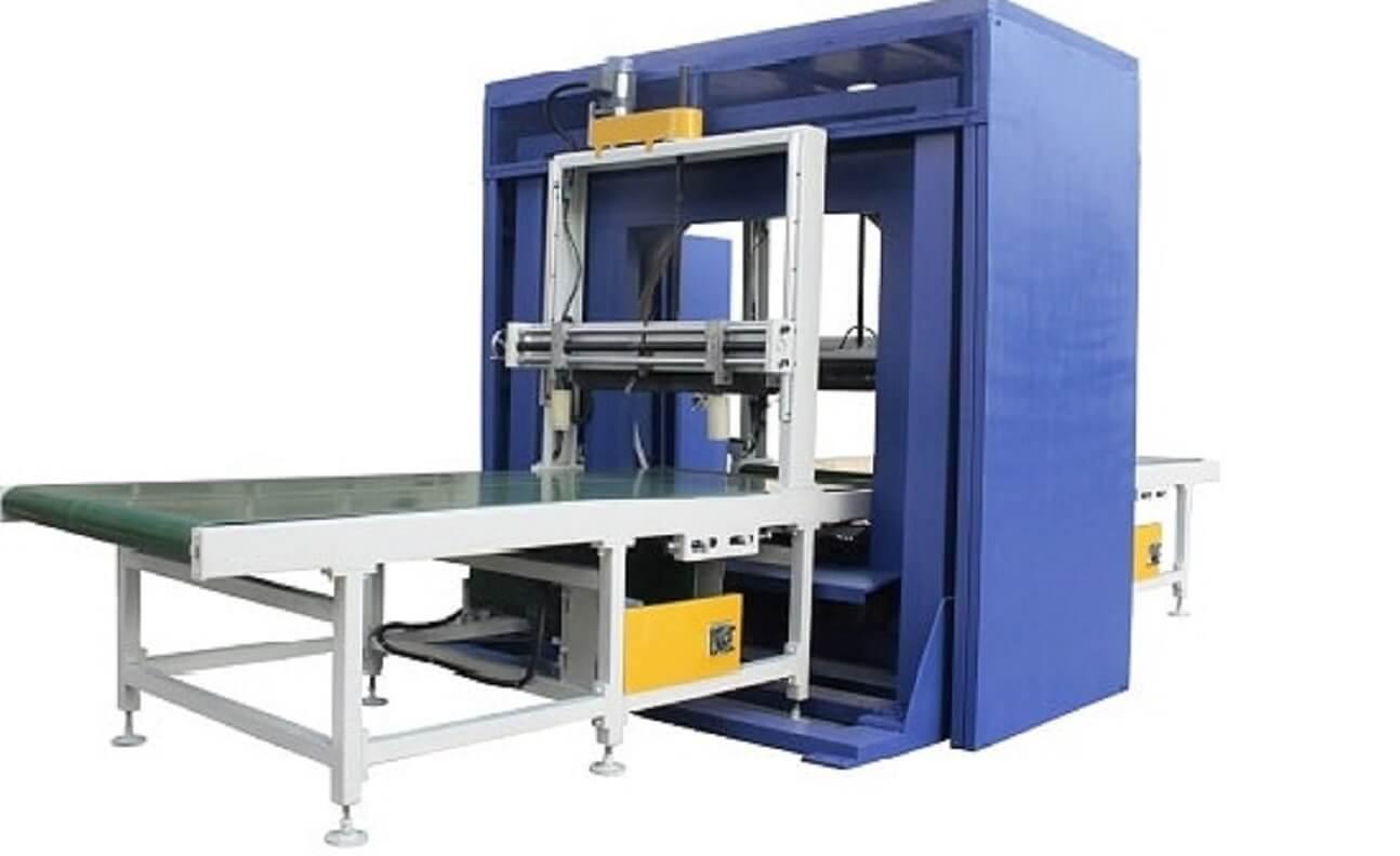 Horizontal orbital wrap packer machine packaging furniture